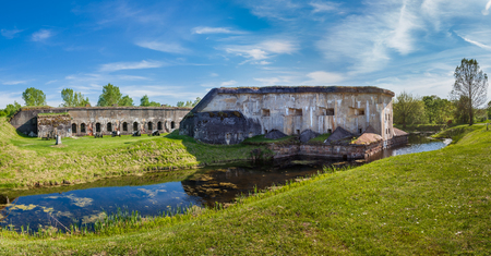 Brest, Belarus - May 12, 2015: The Fifth Fort of Brest Fortress and water moat. Was built in 1878. Brest, Belarus. Editorial