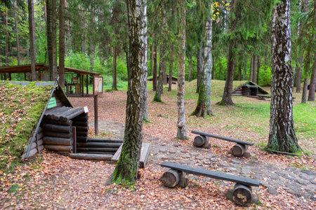 Stankovo village, Belarus - October 08, 2017: A forest dugouts on the territory of military historical complex Partizanen camp in Stankovo village,  Minsk Region, Belarus.