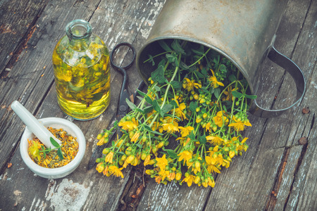 Hypericum - St Johns wort plants, oil or infusion bottle, mortar on wooden board, top view.