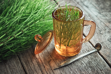Vintage glass cup of healthy tea or infusion and bunch of horsetail herbs on wooden table.