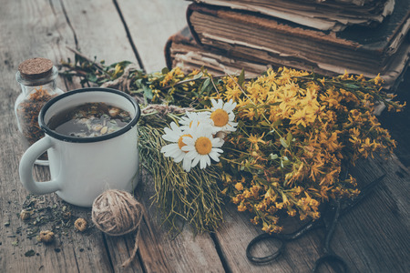 Enameled mug of healthy tea, bunches of medicinal herbs and stack of old books. Stock Photo