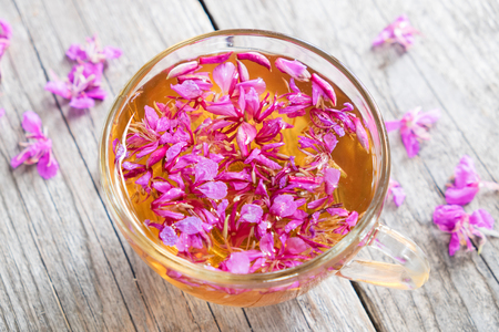 Fireweed healthy herbal tea. Mug of chamerion tea, top view.