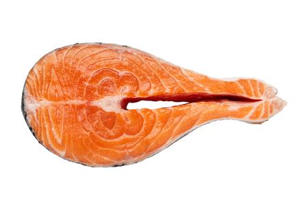 Fresh raw salmon fish steak, isolated on white