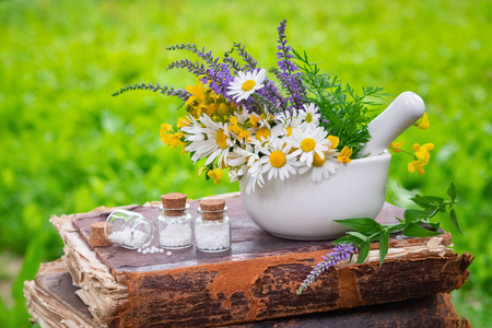 Mortar of healing herbs, bottles of homeopathic globules and old book outdoors. Homeopathy medicine. Stock Photo - 115238793