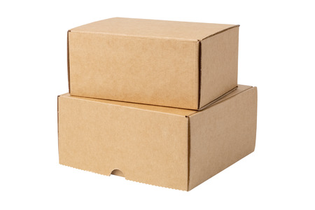 Two cardboard boxes, isolated on white