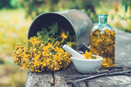 St Johns wort flowers, oil or infusion bottle, mortar and big vintage metal mug of Hypericum plants on wooden board outdoors.