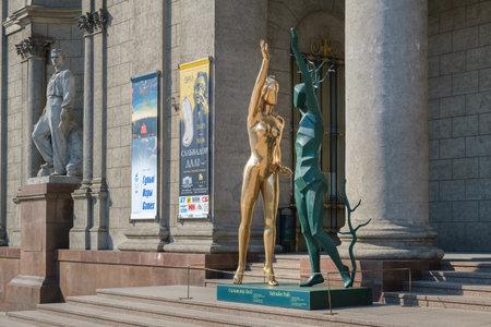 Minsk, Belarus - June 13, 2019: Art sculpture Homage to Terpsichore by Salvador Dali as part of Salvador Dali exhibition in National Art Museum, Minsk, Belarus. Archivio Fotografico - 126309711