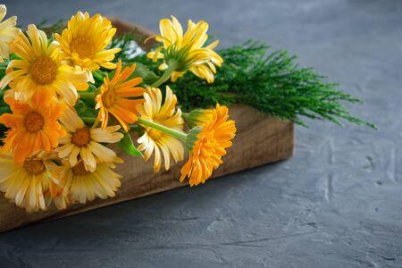 Gesunde Ringelblumen- oder Ringelblumenblüten. Heilkräuter in Holzkiste.