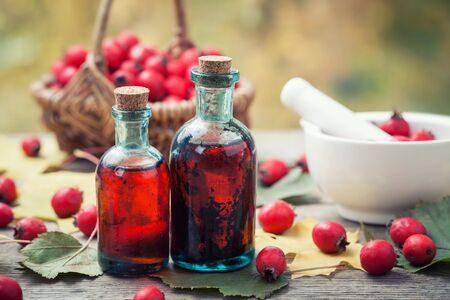Mortar of hawthorn berries, two tincture or infusion bottles and basket of thorn apples on wooden board. Herbal medicine.