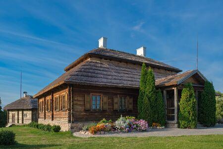 Wooden house - place of birthplace of Tadeusz Kosciuszko in Merechevshchina, near Kossovo city, Brest region, Belarus.