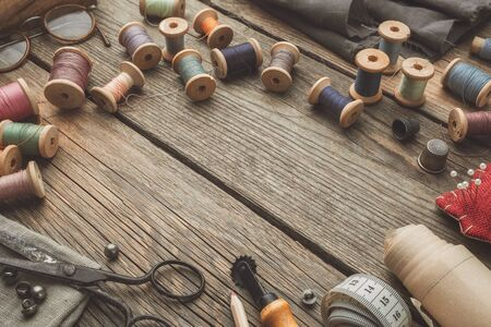 Sewing items on table top 版權商用圖片