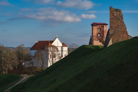 Ruins of Towers of Mindovg Castle and Farnese Church of Transfiguration of the Lord in Novogrudok, Belarus.