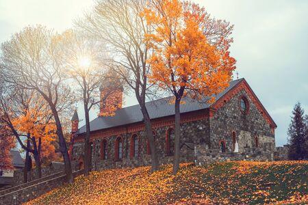 Gothic catholic Church of the Nativity of the Virgin Mary on Castle Hill in autumn in Braslaw, Vitebsk region.