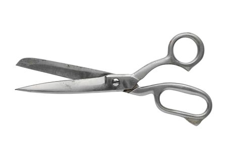 Vintage tailor scissors isolated on white.