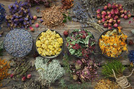 Bowls of dry medicinal herbs