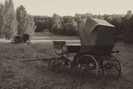 Retro vintage Carriage outdoors. Black and white image.