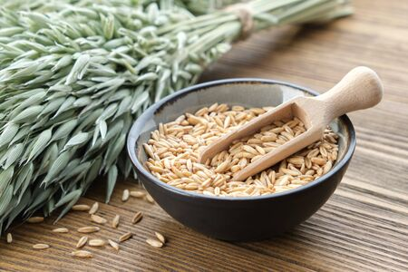 Bowl of oat grains and green oat ears on wooden table.