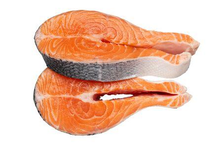 Fresh raw salmon fish steaks isolated on white.