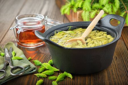 Cooked spruce tips in a black pan, jar of  honey or syrup from fir buds and needles, twigs of fir tree on wooden table.
