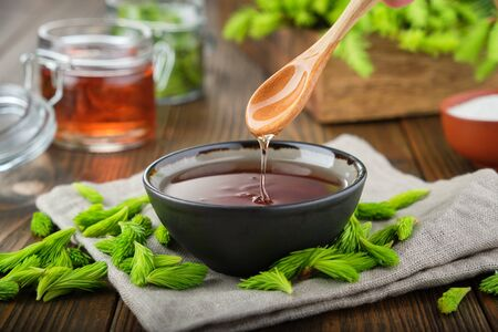 Cooked syrup or honey from spruce tips in a black bowl, jar of  jam or honey from fir buds and needles, twigs of fir tree on wooden table. Фото со стока - 149693724