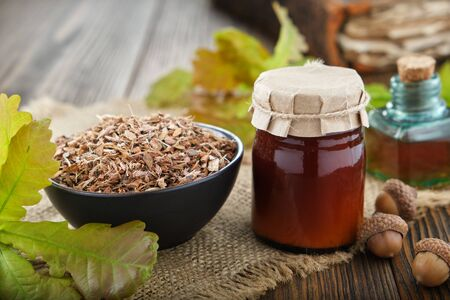 Healthy oak bark in black ceramic bowl, jar of herbal salve or balm infusion or tincture bottle, green oak leaves and acorns on wooden table.