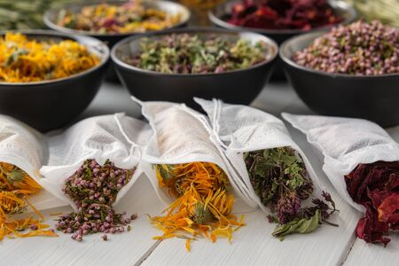 Filter tea bags filled with dry medicinal herbs