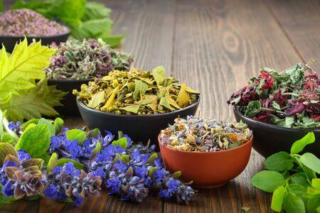 Bowls of dry medicinal herbs of mistletoe, wild marjoram, heather.