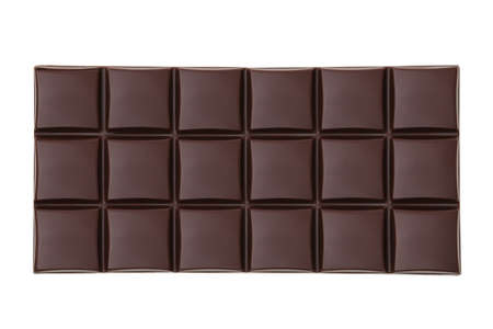 Dark chocolate bar, isolated on white, top view.
