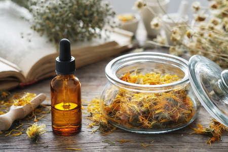 Dropper bottle of calendula infusion or oil, jar of dried marigold flowers, old recipes book and chamomile bunch on background. Alternative medicine.