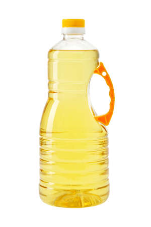 Cooking oil bottle isolated on white. Plastic bottle with vegetable organic oil.