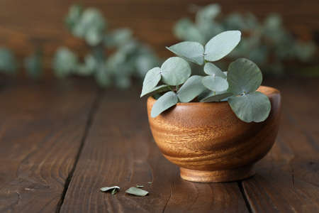 Wooden bowl of green eucalyptus leaves on wooden table.