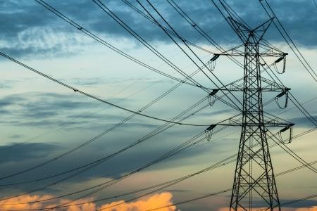 High voltage pole in sky background Zdjęcie Seryjne