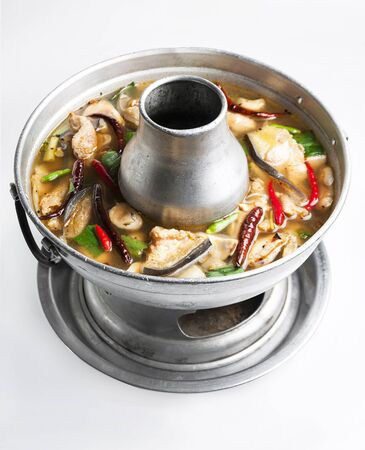 pangasius: Pangasius gigas and lemon grass soup with mushrooms in hotpot