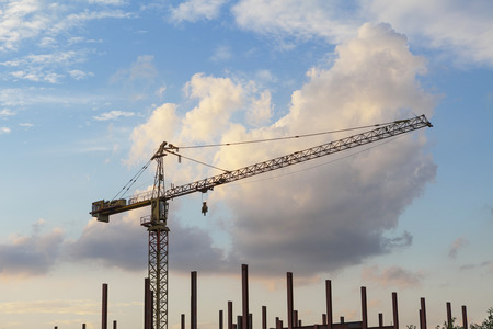 Tower crane on sunset background   Stock Photo - 23172953