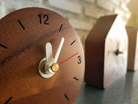 Woodenclock with wall stone
