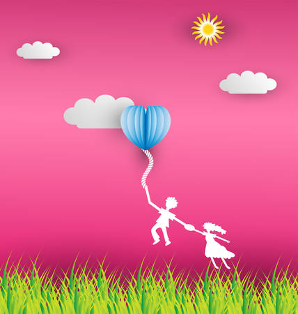 praise: The man jump hold rope  and couple holding woman hand on summer meadow,vector  Illustration.