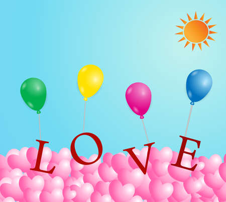 Valentines day greeting card ,Colorful  Balloons on sky background, Vector illustration.