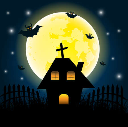 Halloween day and dark house on yellow Moon background.vector, illustration.