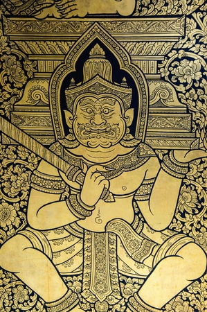 mural: Thai wall mural is made in buddhist temple to dedicate to sacred area