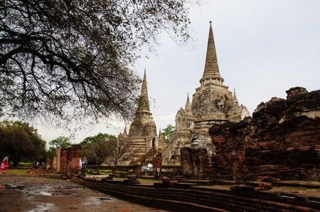 three pagodas in Wat Phra Si Sanphet temple in Ayuttaya, Thailand  photo