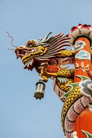 dradon in the Chinese temple is showing to fly to the sky  photo
