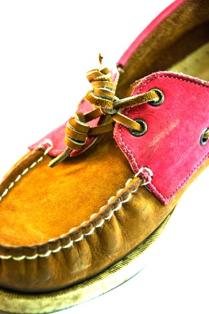 Lady shoe in pink colour and brown colour  photo