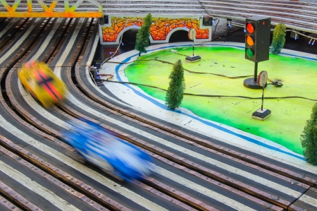 slot car track: the automobile racing on a road toy track