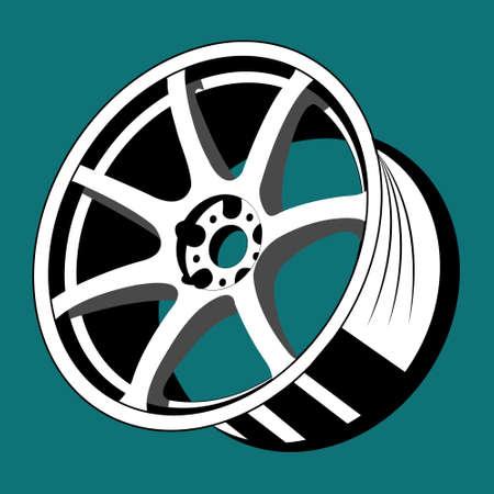 Isolated monochrome car wheel rim vector image