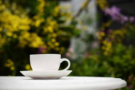 Coffee cup on table in garden (vintage background) Stock Photo