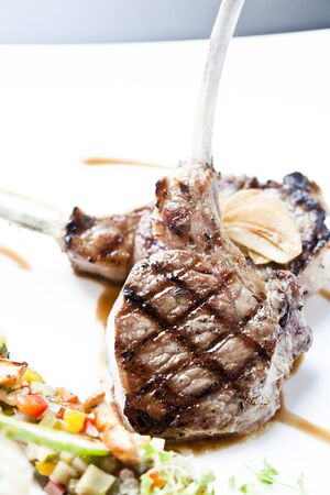 Grilled Lamb steak with spicy Pepper sauce Stock Photo - 16024514