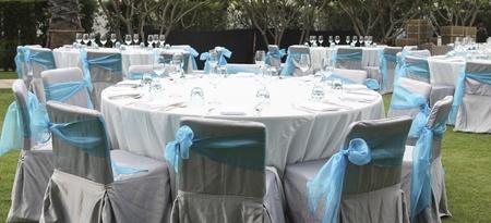 bruiloft stoel en tafel-instelling Stockfoto