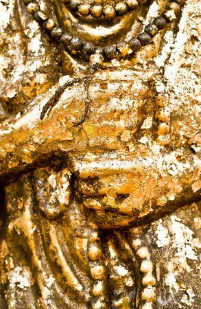 Details of golden Buddha statue Stock Photo