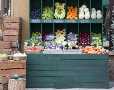 colorful vegetables on market stand Stock Photo
