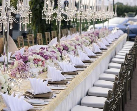 nozze: L'elegante tavolo da pranzo Archivio Fotografico